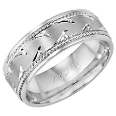 Waves for Him 18K White Gold Engraved Comfort Fit Band 11-WV7352W