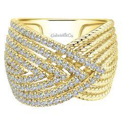 LR51158Y45JJ 14k Yellow Gold Diamond Wide Band