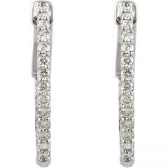 14K White 1/2 ct tw Diamond Inside-Outside Hoop Earrings