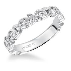 33-V3021-L Fiona Platinum Stackable Diamond Ring from ArtCarved Bridal