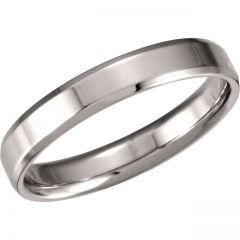 14k White 4mm Beveled Edge Comfort-Fit Band Style GNG-1026