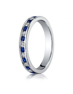 14K White Gold Ladies 3mm Channel Set Diamond & Blue Sapphire Eternity Ring  51356114KW