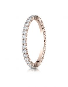 14k Rose Gold 2mm High Polish Shared Prong Diamond Eternity Ring  55262314KR