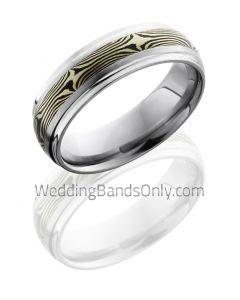 Titanium with 14K Gold Mokume Wedding Ring