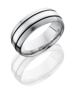 Titanium and Solid Silver Inlay Wedding Ring