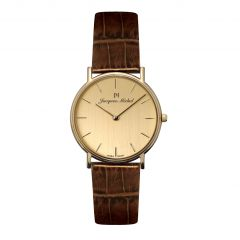 14K Gold and Leather 3 ATM Jacques Michel Watch Style# JM-12002