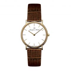 14K Gold and Leather 3 ATM Jacques Michel Watch Style# JM-12004