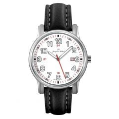 Stainless Steel and Leather Luminous Dial and Hands and 10 year Lithium Battery 10 ATM Jacques Michel Watch Style# JM-12153