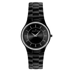 Black IP Plated Stainless Steel Watch with Genuine Diamond Crown by Jacques Michel Style# JM-12217