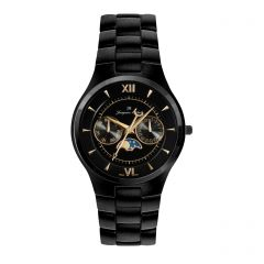 Black Stainless Steel Watch for Men with 5J Multi-Function by Jacques Michel Style# JM-12224