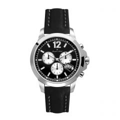 Stainless Steel and Leather Swiss Chronograph Screw Down Diver Crown and Luminous Dial  20 ATM Watch by Jacques Michel Style# JM-12235