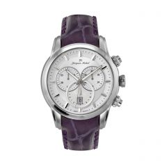Stainless Steel and Leather Swiss Chronograph 10 ATM Watch by Jacques Michel Style# JM-12238