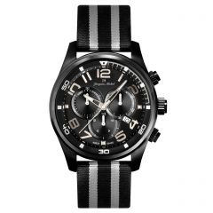 Stainless Steel Swiss Chronograph Carbon Fiber Dial and Luminous Dial and Hands  10 ATM Watch by Jacques Michel Style# JM-12241