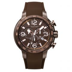 Stainless Steel and Rubber Swiss Chronograph Luminous Dial and Hands  10 ATM Watch by Jacques Michel Style# JM-12248