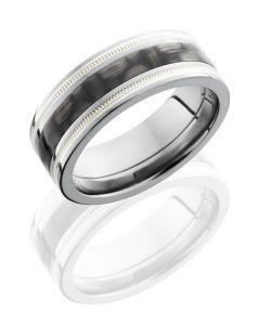 Titanium and Carbon Fiber Milgrain Wedding Ring