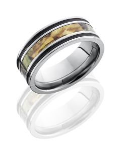 Camo Inlaid Titanium Wedding Band for Him or Her