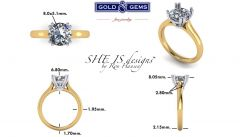 GG Classically inspired Cathedral Engagement Ring Solitaire GNG-1208P