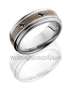 Cobalt Chrome and 14k Mokume Wedding Ring