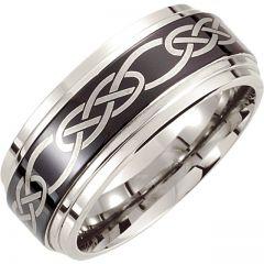 Cobalt Wedding Ring for Men with Black Laser Engraved Design