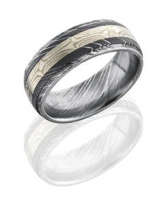 Damascus Steel and Mokume Three Tone Wedding Ring
