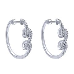 EG10102W44JJ 14KT White Gold Diamond Hoop Earrings from Gabriel and Co