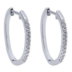 EG10213W45JJ 14 KT White Gold Diamond Hoop Earrings from Gabriel and Co