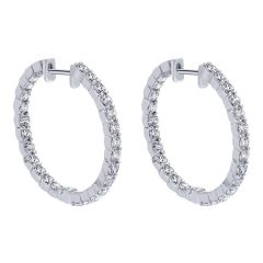 EG10270W45JJ 14 KT White Gold Diamond Hoop Earrings from Gabriel and Co
