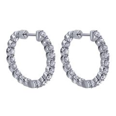 EG10863W45JJ 14 KT White Gold Diamond Hoop Earrings from Gabriel and Co
