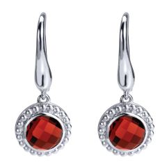 EG11701SVJGN 925 Silver Garnet Drop Earrings from Gabriel and Co
