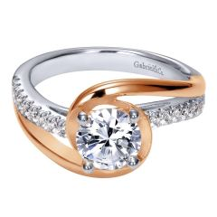 ER10309T44JJ 14K Rose and White Gold Contemporary Bypass Engagement Ring