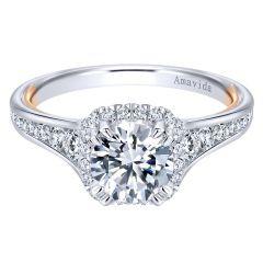 ER11344R4T83JJ 18k White and Pink Gold Diamond Halo Ring
