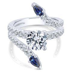 ER13673R6W84SA 18k White Gold Diamond And Sapphire Split Shank Ring