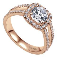 ER7786K44JJ 14k Pink Gold Diamond Halo Engagement Ring