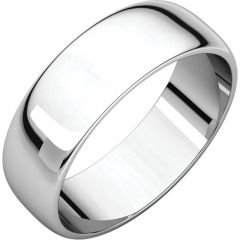 14k White 6mm Half Round Band Style GNG-1032