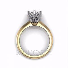 Two Tone Gold TIFFANI Diamond Engagement Ring