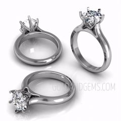 DOMINIQUE 14k White Gold Diamond Solitaire by Gold and Gems