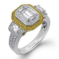 LP1996 18K White and Yellow Gold Emerald Cut Engagement Ring from Simon G