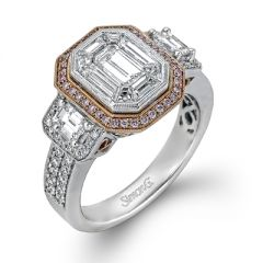 LP1996 18K White and Rose Gold Emerald Cut Engagement Ring from Simon G