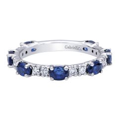 LR4587W44SA 14K White Gold with Diamonds and Blue Sapphires Stackable Ring from Gabriel & Co