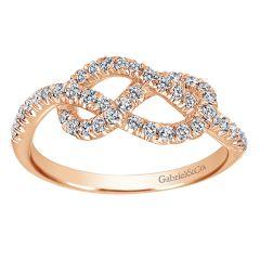 LR50151K45JJ 14K Pink Gold and Diamond Knot Ring