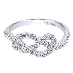 LR50151W45JJ 14K White Gold and Diamond Knot Ring