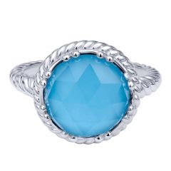LR50156SVJXT 925 Silver Turquoise Rock Crystal Fashion Ring