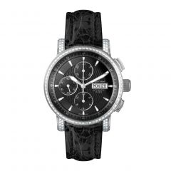 Stainless Steel and Genuine Crocodile See-through Exhibition Back, Diamonds and Luminous Dial and Hands 10 ATM Diver's Watch by Jacques Michel Style# JM-12253