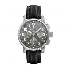 Stainless Steel and Leather See-through Exhibition Back, Diver Crown and Luminous Dial and Hands 10 ATM Watch by Jacques Michel Style# JM-12265