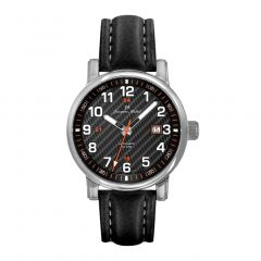 Stainless Steel and Black Leather Men's Watch with See-through Exhibition Back, Black Carbon Fiber Dial and Luminous Dial and Hands by Jacques Michel Style# JM-12269