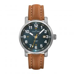 Stainless Steel and Brown Leather with See-through Exhibition Back, Diver Crown and Luminous Dial and Hands 10 ATM Men's Watch by Jacques Michel Style# JM-12270
