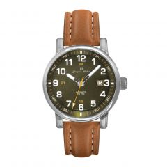 Stainless Steel and Leather See-through Exhibition Back, Diver Crown and Luminous Dial and Hands 10 ATM Watch by Jacques Michel Style# JM-12271
