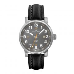 Stainless Steel and Black Leather with See-through Exhibition Back, Diver Crown and Luminous Dial and Hands 10 ATM Men's Watch by Jacques Michel Style# JM-12272