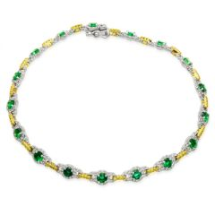 MB1427 18K White Gold Bracelet with Emeralds and Diamonds from Simon G