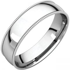 14k White 5mm Comfort Fit Milgrain Band Style GNG-1030